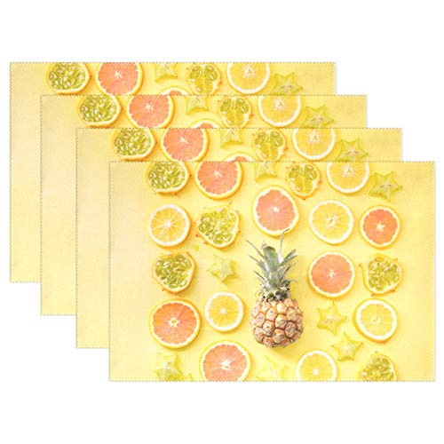 - Fengye Placemats Lemon Pineapple Fruit Kitchen Table Mats Resistant Heat Placemat for Dining Table Washable 12
