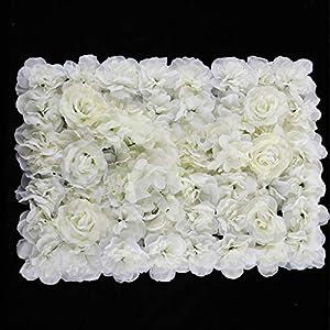 Prettyia Pack of 20 Artificial Silk Rose Hydrangea Flower Wall Panels Cream 40x60cm 41