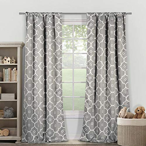 Duck River Textiles - Gingalia Geometric Blackout Room Darkening Pole Top Window Curtains Pair Panel Drapes for Bedroom, Living Room - Set of 2 Panels - 39 X 84 Inch - White Grey