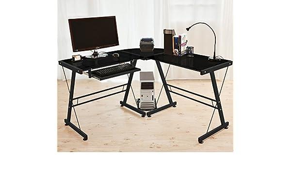 Ordenador Mesa pc escritorio esquina Oficina Mesa Cristal de ...