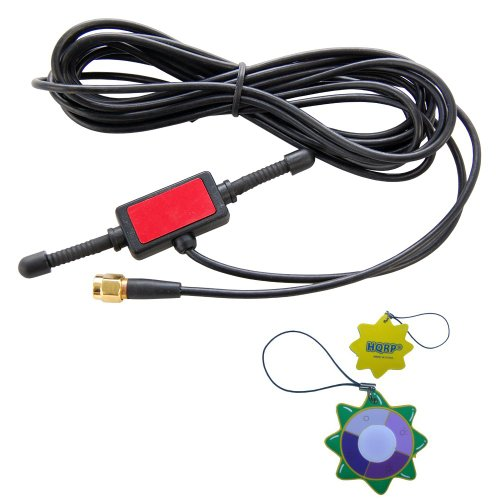 HQRP Antenna 433MHz 2dbi GSM SMA Male Plug Tentacle 3M RG174 Cable w/Universal CMMB Patch for Digital Cellular Alarm Communicator/Mobile Phone/Car GSM Phone + HQRP UV Meter