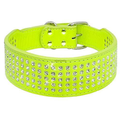 SOCHII Fashion Jeweled Rhinestones Pet Dog Collars Sparkly Crystal Diamonds Studded PU Leather Collar for Medium & Large Dogs Pitbull Green XL