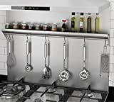 stainless steel backsplash panel Ancona PBS-1230 30 in. x 30.75 Stainless Steel Backsplash with Shelf and Hooks