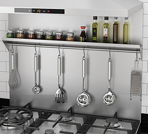 Ancona PBS-1230 30 in. x 30.75 Stainless Steel Backsplash with Shelf and Hooks