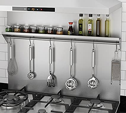 Strange Ancona Pbs 1230 30 In X 30 75 Stainless Steel Backsplash With Shelf And Hooks Download Free Architecture Designs Intelgarnamadebymaigaardcom