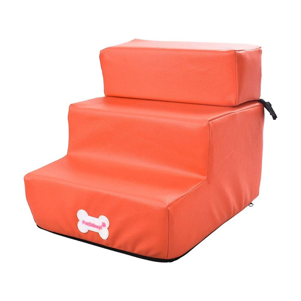 orange Dog Stairs Cat Steps 3Step Dog Stairs with Detachable Cover, Cats Dogs Pet Climbing Sponge Stairs Small Dog Teddy Sofa Bed Ladder, Up to 3 Kg (color   bluee)