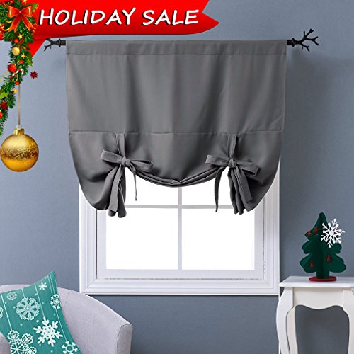 Tie Up Shade (NICETOWN Thermal Insulated Grey Blackout Curtain - Tie Up Shade for Small Window (Rod Pocket Panel, 46