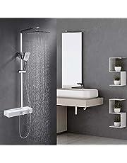 Umi. Essentials Duschset mit Thermostat Duschsystem Eckig Duschpaneel Duscharmatur mit Duschregal Kopfbrause Handbrause Regenbrause Duschstange