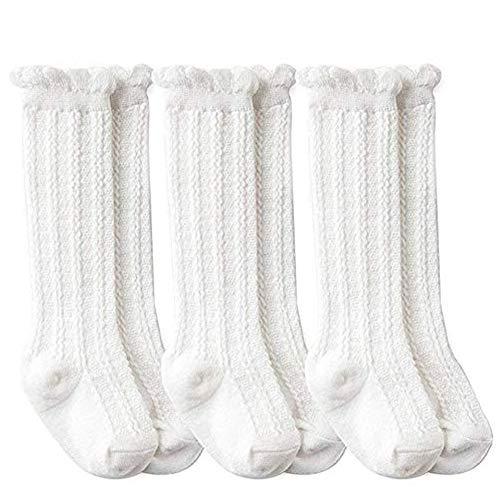 Unisex Baby Cotton Uniform Knee High Socks Tube Ruffled Stockings for Girls and Boys (Pack of 3/5) (White, S)