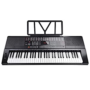 AW 61 Key Full Size Electronic Music Keyboard Electric Piano LCD Display USB Input MP3 Black from AW