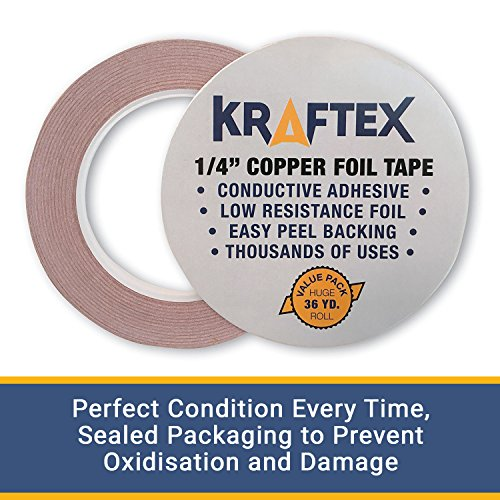 Copper Foil Tape with Conductive Adhesive 1/4inch X 36yards - Stained Glass, Soldering, Electrical Repairs, Grounding, EMI Shielding - Extra Long Value Pack at A Great Price - NOW 39% Thicker Foil