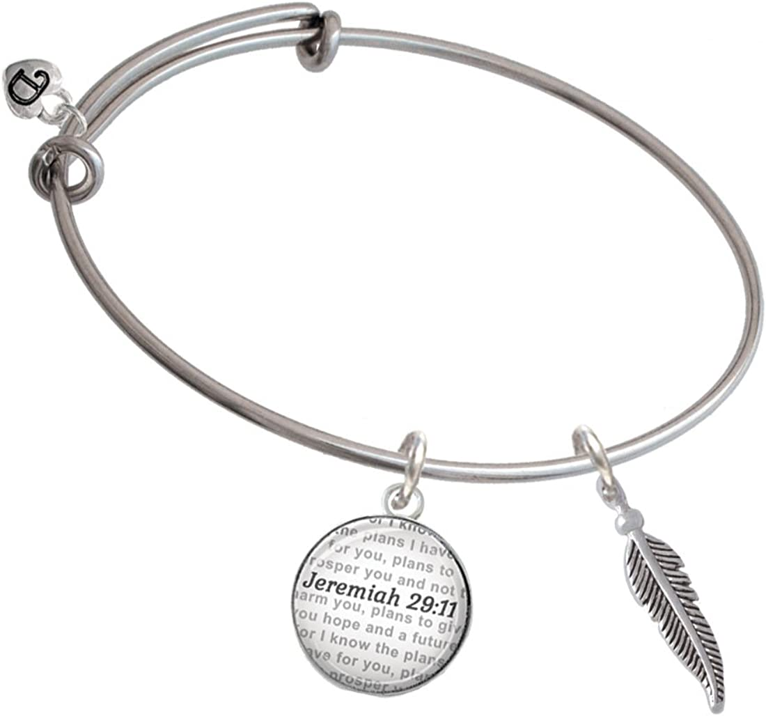 Bible Verse Jeremiah 29:11 Glass Dome Bangle Bracelet Delight Jewelry Silvertone Small 3-D Feather