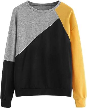 Luckycat Camisas Sudadera Mujer Manga Larga Bloque de Color Casual Blusas Tops del Camisetas Blusa Moda Patchwork Casual para Mujer Color Block O-Neck Manga Larga Camiseta Tops: Amazon.es: Relojes