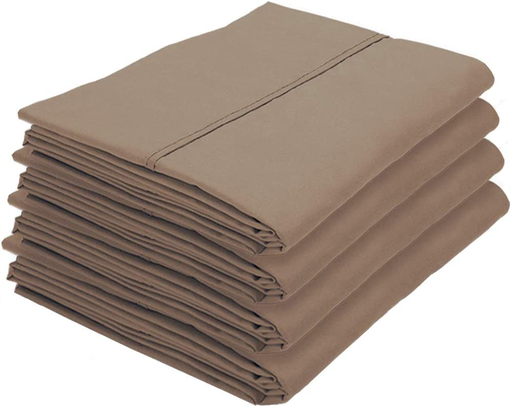 Bulk Pack Wrinkle Resistant Premium 1800 Ultra-Soft Collection Easy Care Standard - 4 Pack, Taupe Hypoallergenic Bare Home 4 Kids Pillowcases Double Brushed