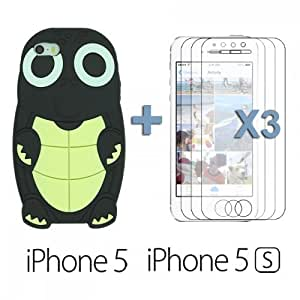 Turtle Style 3D Silicone For SamSung Galaxy S6 Case Cover - Black with 3 Screen Protectors