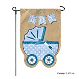 New Baby Banner Baby Boy Garden Flag, Yard Sign, Car Decoration - Blue Carriage Baby Buggy Design On Burlap Banner - 12x18 - Home Garden Flag
