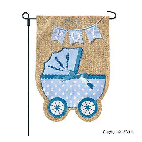 Garden New Yard Banner Sign - New Baby Banner Baby Boy Garden Flag, Yard Sign, Car Decoration - Blue Carriage Baby Buggy Design On Burlap Banner - 12x18 - Home Garden Flag