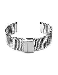 22mm Semi-Heavy Stainless Steel Wire Mesh Bracelet Watch Band Strap for Sporty Watch