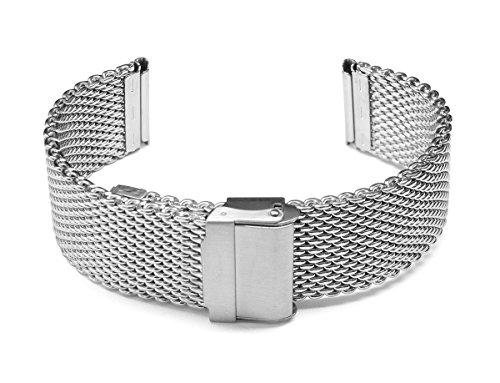 20mm TIMEWHEEL Semi-Heavy Stainless Steel Wire Mesh Bracelet Watch Band Strap for Sporty Watch