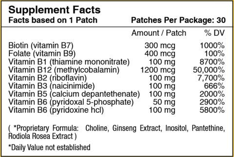B12 Energy Plus Topical Patch by PatchAid (3-Month Supply)
