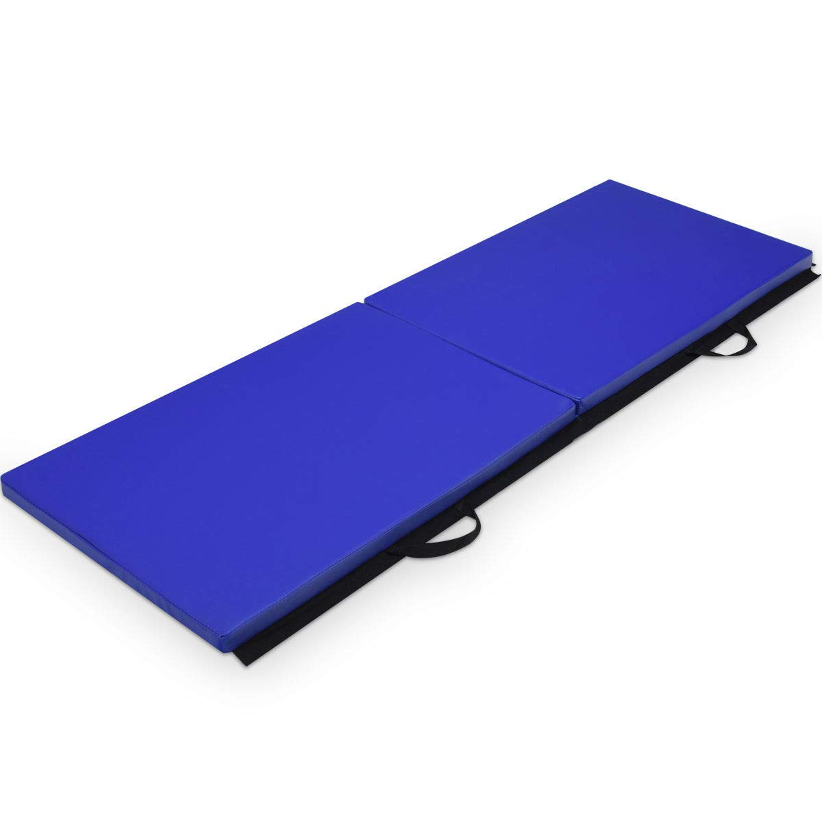 COSTWAY 6'X2'X1.5 Gymnastics Mat Thick Two Folding Panel Gym Fitness Exercise Blue