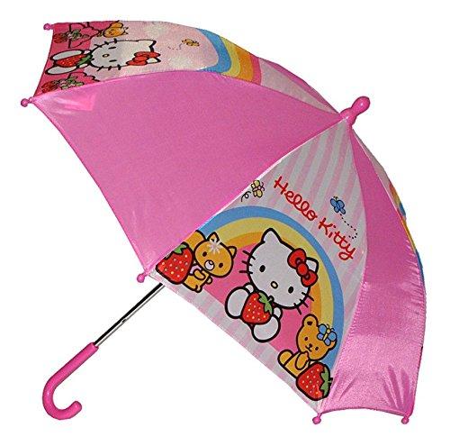 Unbekannt Regenschirm - Hello Kitty - Kinderschirm 56 cm lang - für Kinder Stockschirm Schirm - Mädchen Schirm pink Katze rosa Kinderregenschirm - Mädchenschirm Katze Kätzchen Miezekatze Regenbogen Kinder-Land