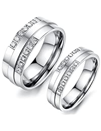 His or Hers Matching Set Titanium Stainless Steel Couple Wedding Band Set in a Gift Box