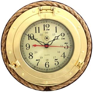 Bey-Berk Brass Porthole Clock with Rope
