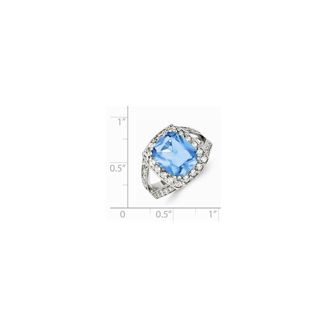 ICE CARATS 925 Sterling Silver Blue Glass Clear Cubic Zirconia Cz Band Ring Size 8.00 Fine Jewelry Ideal Gifts For Women Gift Set From Heart by ICE CARATS (Image #3)
