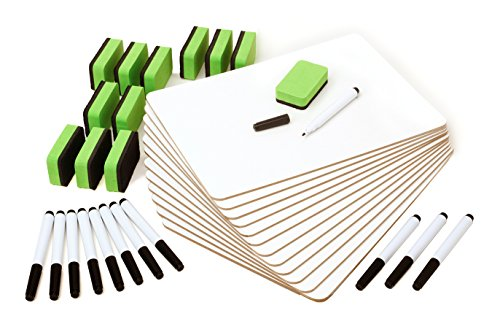 Safe Markerboard (Set of 12 Dry Erase Lapboards Whiteboards Markers Erasers. Perfect For In The Classroom or Office)