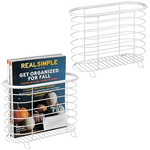 mDesign Decorative Metal Farmhouse Magazine Holder and Organizer Bin - Standing Rack for Magazines, Books, Newspapers, Tablets in Bathroom, Family Room, Office, Den - 2 Pack - Matte White