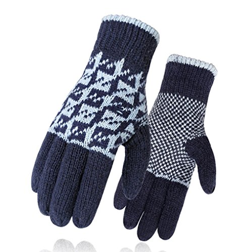 Men's Christmas Fleece Gloves Knit Mittens Windproof Full-finger Warm Gloves Snowflake Pattern by oppus