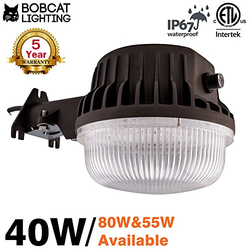 Bobcat 40W LED Area Light Dusk to Dawn Photocell Included, 5000K Daylight, 4600 Lumens, Perfect Yard Light or Barn Light, ETL Listed, 300W Incandescent or 100W HID light Equivalent, 5-Year Warranty