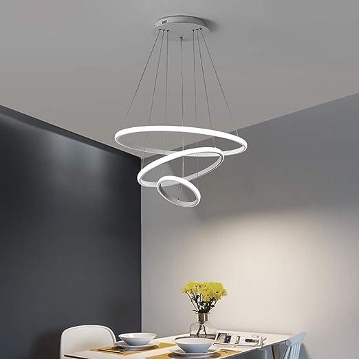 Lámpara colgante LED regulable de 3 anillos Luminaria ajustable ...