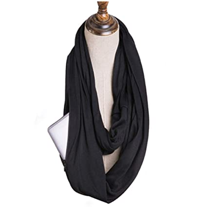 c300c356610e0 100% Cotton Women Infinity Scarf Wrap with Secret Hidden Zipper Pocket  Fashion Circle Loop Travel Scarfs for Spring Winter Black: Amazon.ca:  Clothing & ...