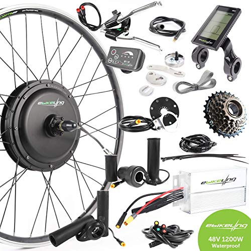 EBIKELING 48V 1200W 700C Direct Drive Front Rear Waterproof Electric Bicycle Conversion Kit (Rear/LCD/Thumb)