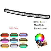 """Nicolight Curved 32"""" 180W RGB Halo LED Light Bar with Bluetooth App & Wiring Harness Control for Rock lights kit Off Road lights Bluetooth lights for truck car Driving Lights Waterproof"""