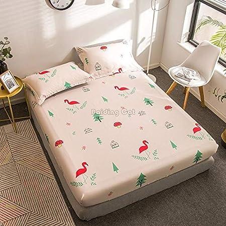 CGDX Hojas de Plantas Tropicales sábanas Ajustadas Impresas Juego de sábanas de Tela de algodón Sábanas con Banda de Goma Protector de Cubierta de colchón 2pcs Funda de Almohada Chocolate: Amazon.es: Hogar