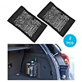 MCARCAR KIT Universal Trunk Organizer Rear Trunk Back Seat Cargo Mesh Net Bag Flexible Nylon Car Storage Wall Sticker Pouch Bag