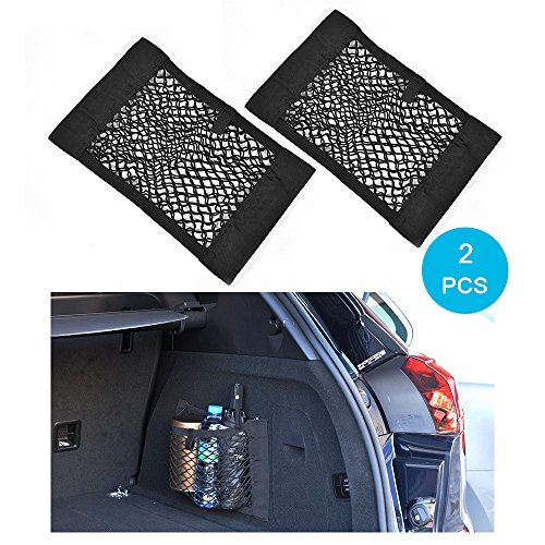 (MCARCAR KIT Universal Trunk Organizer Rear Trunk Back Seat Cargo Mesh Net Bag Flexible Nylon Car Storage Wall Sticker Pouch Bag)