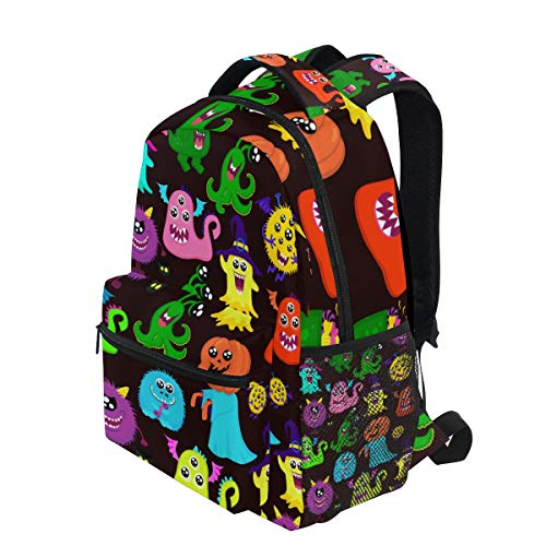 KVMV Abstract Halloween for Girls Boys with Many Bright Monsters Pumpkin One-Eyed Lightweight School Backpack Students College Bag Travel Hiking Camping Bags