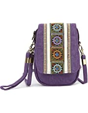 Goodhan Embroidery Canvas Crossbody Bag Cell phone Pouch Coin Purse for Women