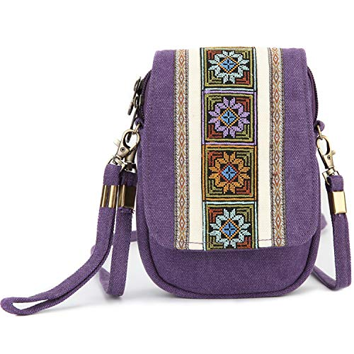 - Goodhan Embroidery Canvas Crossbody Bag Cell phone Pouch Coin Purse for Women Girls (Violet)