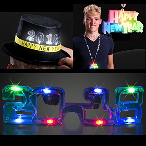 New Year's Eve Light Up Flashing Fun Party Package! Included are a pair of 2018 Glasses, a Lanyard Necklce, and A 2018 Top Hat! Make the New Year EXTRA FUN for just 20 bucks! (Wow Halloween Event 2017)