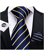 JSJJRFV stropdas Mens Bruiloft Tie Goud Zwart Gestreepte Zijde Hals Stropdassen Voor Mannen Hanky Manchetknopen Set Zakelijke Party Gravatas