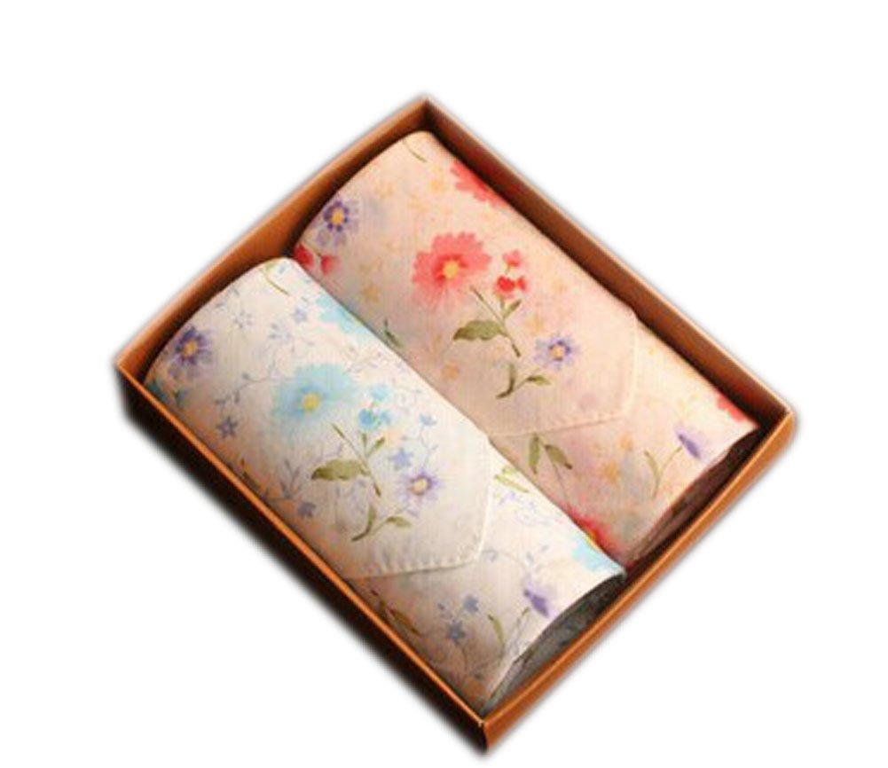 Boxed Fancy 2 PCS/ Ladies Cotton Pastorale Daisy Handkerchiefs/Blue+Beige BT-CLO2474944011-HIROCO00481