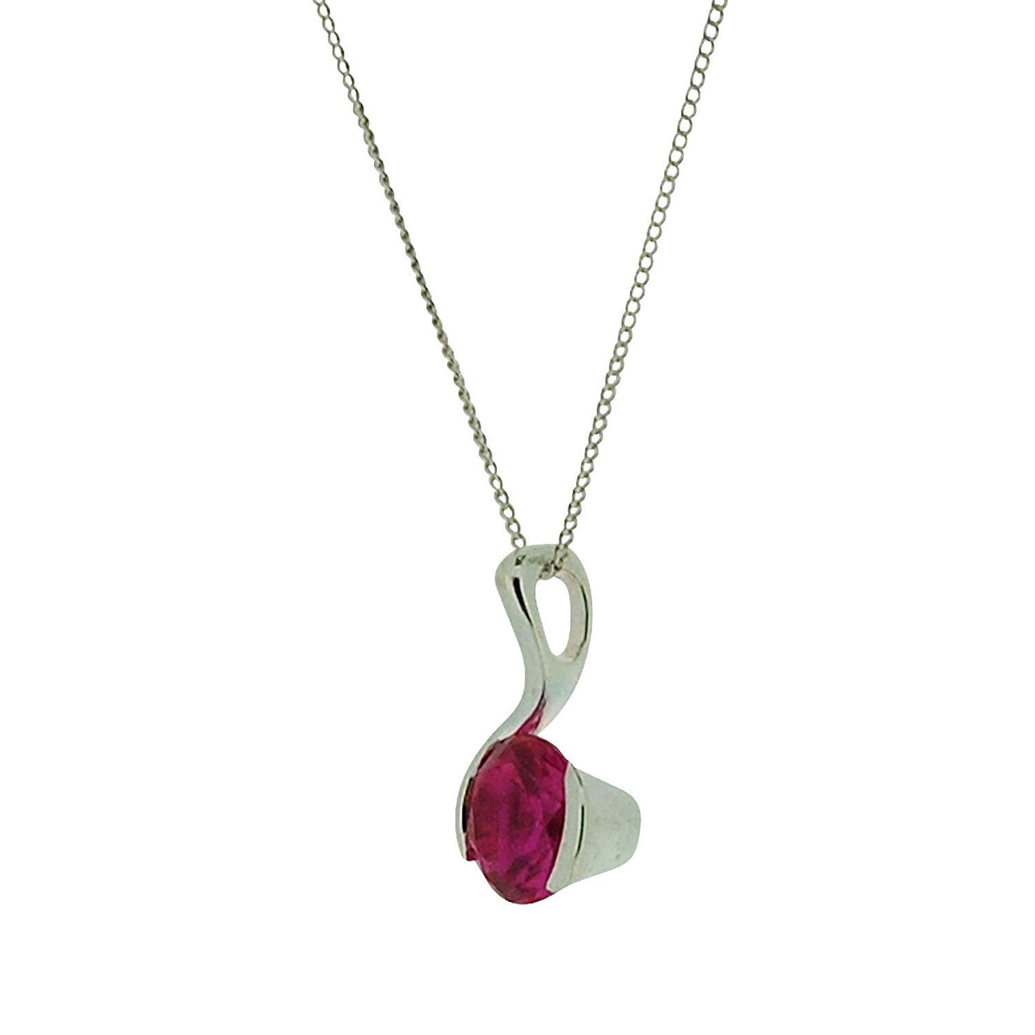 The Olivia Collection TOC Sterling Silver Fuchsia CZ Round Fancy Pendant Necklace 18