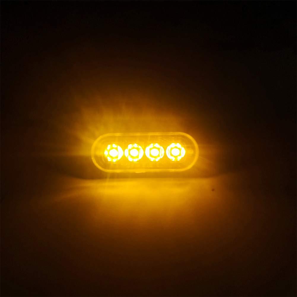 HOPQ 4 LED Car Emergency Strobe Light Truck Van Side Warning Light Ambulance Emergency Light Super Bright