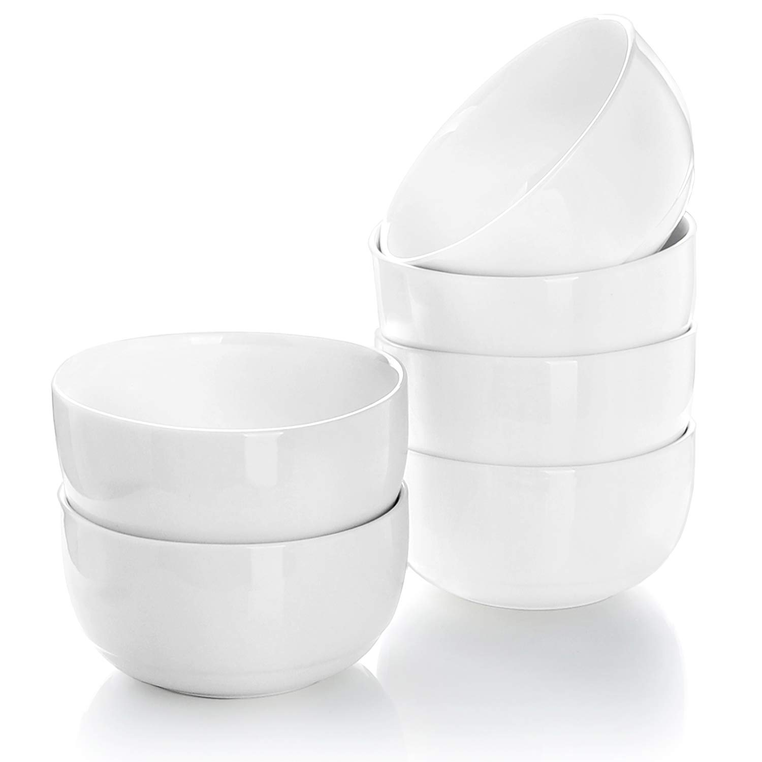Teocera 10 Oz Porcelain Bowls - 4.25 inch Small White Bowl Set of 6, A Healthier Portion Size for Sauce Dip Serving, Cereal, Dessert, Snack, Rice, Ice cream, Fruit, Microwave Safe by Teocera