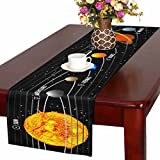 InterestPrint Planet of Solar System With Astronomical Long Table Runner 14'' x 72'' Inch,Natural Rectangle Table Runners,Wedding Party Decoration Kitchen Decor Farmhouse Decoration